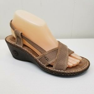 Ugg 7 Sandals Shoes Wedges Mayley Fawn Slingbacks